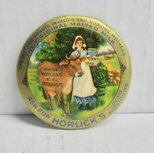 Large Antique Advertising Pin Back Button Horlick'S Malted Milk Cow Scene