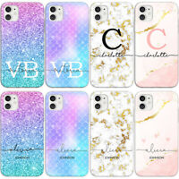 PERSONALISED PHONE CASE WITH NAMES & INITIALS MARBLE GLITTER FOR NOKIA 3 5 7 8