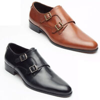 Lucini Mens Real Leather Smart Casual Double Buckle Strap Monk Formal Shoes Size