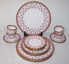Spode Fleur de Lys Red 20pcs Plates Cups Saucers Dinner Salad Y7481A Gold Trim