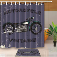 Motorcycle Show Shower Curtain Bathroom Waterproof Fabric /& 12hooks 71*71inches