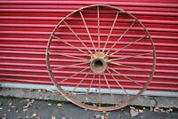 """LARGE Antique Wagon Tractor Wheel Metal 18 Spoke 43"""" Tall #2 Country Americana"""