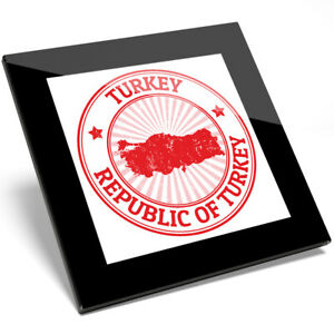 1 x Awesome Republic Of Turkey Map Glass Coaster - Kitchen Student Gift #5401
