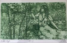 """Artists Proof Mid Century Etching """"Spring"""" by Mary Vickers (British 1940-)"""