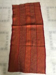 Table Runner Andean South American from Bolivia Stripes Red Orange Wool Woven