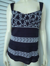Ann Taylor Top 6 Camisole Blouse Black Cotton White Embroidery Pleats Lined