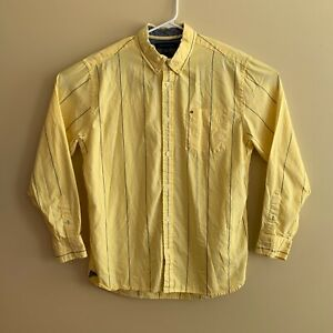 Men's Tommy Hilfiger - Yellow Blue - Stripes - Classic Dress Shirt - Size Large