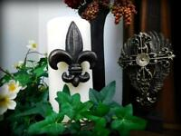 TWO, Fleur de Lis Candle Pins for Pillar Candles. New Orleans, Louisiana Decor