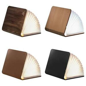 LED Wood/Leather Effect Book Desk Lamp Gingko USB Rechargeable 360°  Light