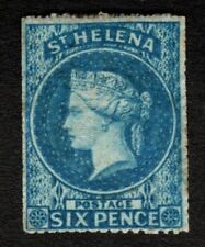 St Helena 1861 SG2a 6d Blue - rough 14to16 perfs Wmk Large Star MM Cat £425.00