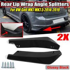 Rear Bumper Lip Wrap Angle Diffuser Splitter Canard For VW Golf MK7 MK7.5 14-19