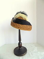Antique 1890's Straw Hat with Feathers