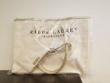Ralph Lauren Tote Bag Tan Beige Canvas Gold Trim Large Purse Shopper