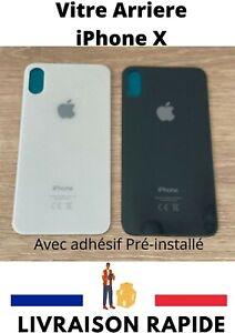 VITRE ARRIERE couvercle cache batterie GRAND TROU + adhesif pour Apple IPHONE X