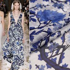 Weiß 100% Seide Chiffon Stoff Mit Blau Blumenmuster Mode Seidenstoffe Meterware