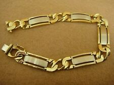 14K Two Tone White and Yellow Gold Large Men's Bar and Link Bracelet - 8.25""