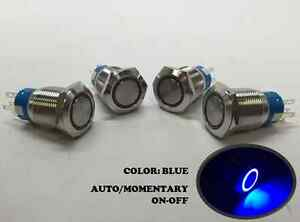 4 of MARINE SS304 BLUE LED 12V FLUSH LIGHT AUTO ON-OFF PUSH SWITCH RING BUTTON