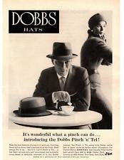 "1957 Dobbs Hats Pork Pie ""Pinch N Tell"" Park Avenue New York Coffee Print Ad"