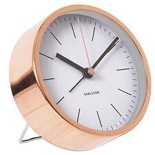 Karlsson MINIMAL ALARM CLOCK COPPER Case WHITE Face SILENT Modern 10cm diam