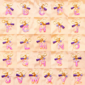 1pc Letter Pendant Resin Keychain Women Acrylic Glitter Keyring Holder Bag Gift