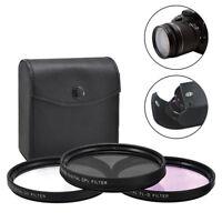 77mm 3 Piece HD Lens Filter Kit For Canon Nikon Sigma Sony Tamron Fujifilm Lens