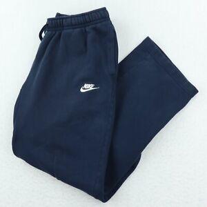 Nike Basic Sweatpants Mens Size L Blue Embroidered Logo Elastic Waist Pockets