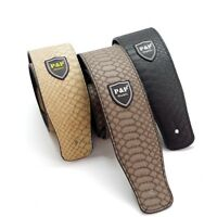 PU Leather Guitar Strap Snake  Embossed Adjustable Acoustic Electric Bass Black