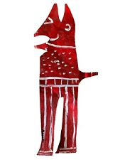 R.A. Miller - Red Devil Painted on Sheet Metal - 32 x 14 inches - Folk Art. GA.