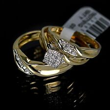 Men's Ladies Yellow 10K Gold Real Genuine Diamond Ring Wedding Bridal Trio Set