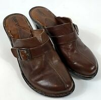 BORN Women's Brown Leather Clogs Mules Slip On Shoes Size 9M Buckle Detail W6226