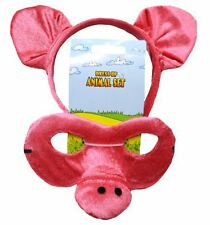 Animal Headband & Mask Set - Pig Headwear Fancy Dress Party Accessories