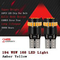 Amber Yellow Canbus No Error 168 194 LED Light Bulb License Side Marker 921 D2