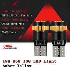 Amber Yellow Canbus No Error 168 194 LED Light Bulb License Side Marker 921 D2