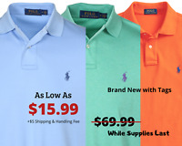 NWT Ralph Lauren Polo V-Neck Mens Classic Slim Fit Shirt SALE Great Gift
