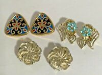 Lot of 3 pr Vtg Gold Tone Clip On Earrings- Enamel Shield, Blue Rhinestone, 3D