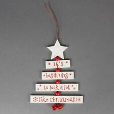 Rustic Wooden White Look A lot Like Christmas Tree Hanging Decoration 17x12.5cm
