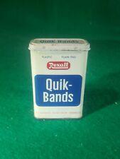 Vtg  Rexall Quik Bands Band Aid Tin Box Medical  Advertising Apothecary Decor