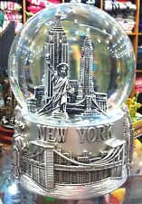 100 mm Musical New York City Snow Globe, Brooklyn Bridge, Statue Of Liberty