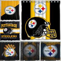 "Pittsburgh Steelers 72"" x72"" Waterproof Fabric Shower Curtain Bathroom Decor"