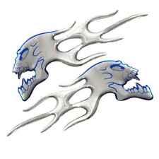Blue Chrome Ghost Skull Head Flame Car Sticker Paster Emblem Decals Badge Logo
