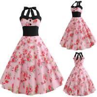 Floral Evening Retro vintage halter Dress Summer women Swing Party Dresses