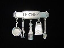 """""""JJ"""" Jonette Jewelry Silver Pewter 'LE CHEF with Cooking Charms' Pin"""
