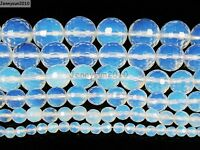 Natural White Opal Gemstone Faceted Round Beads 15'' 4mm 6mm 8mm 10mm 12mm 14mm
