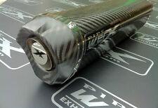 Kawasaki ZX10R 2011 2012 2013 + Carbon Fibre Tri Oval Carbon Outlet Exhaust Can