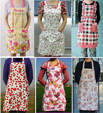 Cute thick cotton canvas apron strawberry flower bee pattern