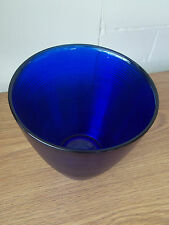 Vintage Antique Collectable Retro Ribbed Dark Blue Glass Vase