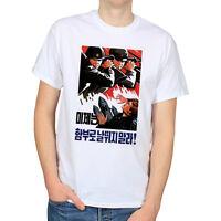 NORTH KOREA PROPAGANDA POSTER POLITICAL ART COMMUNISM MENS WHITE T-SHIRT TEE