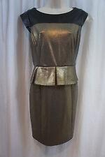 Cynthia Steffe Dress Sz 8 Black Gold Shimmer Peplum Evening Cocktail Dress