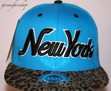 New York Leopard Snapback caps, NY dope flat peak baseball fitted hats blue/blk