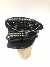 Gothique Punk Crâne INSIGNES /& rivets noir en laine Militaire Chapeau 57,58,59 cm